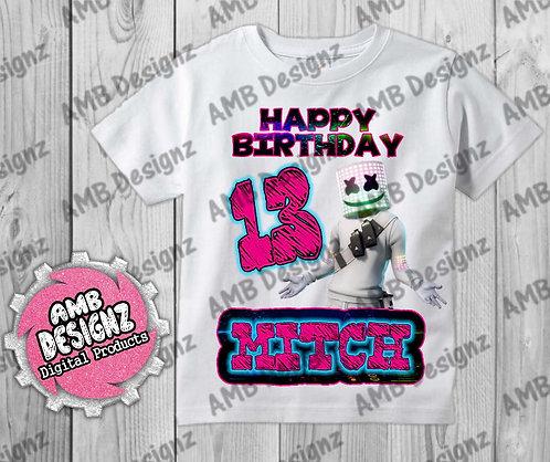 DJ Marshmello T-Shirt Birthday Image - DJ Marshmello Party Supplies