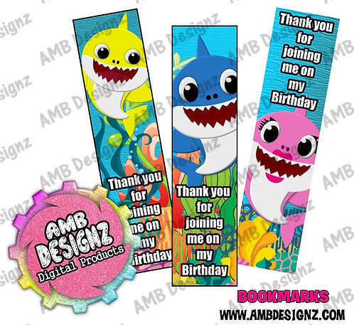 Baby Shark Bookmark Party Favors - Baby Shark Party Supplies