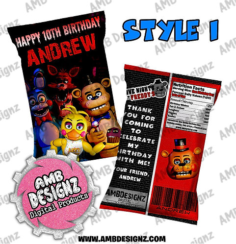 Five Nights at Freddy's (FNAF) - Chip Bag Favor - FNAF Party Supplies
