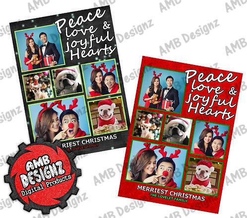 Peace Love Christmas Greeting Card - Peace Love Photo Christmas card