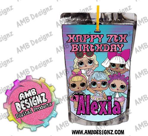 LOL Surprise Juice Pouch Label - LOL Surprise Party Supplies