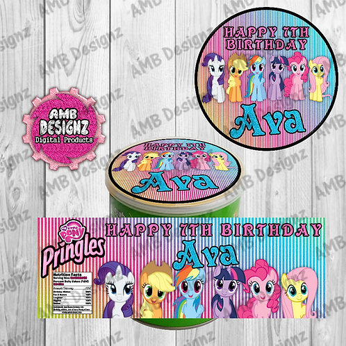 My Little Pony Pringles Can Labels - My Little Pony Party Supplies
