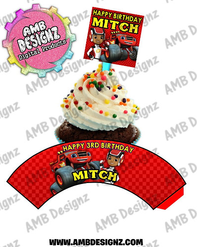 Blaze and the monster machines Cupcake Topper and Blaze Cupcake wrapper