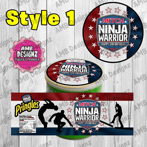 American Ninja Warrior Pringles Can Labels - American Ninja Party Supplies