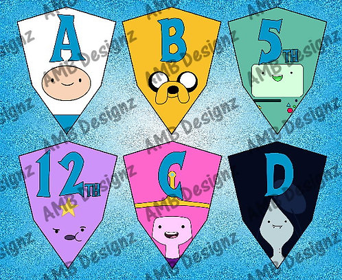 Adventure Time Birthday Party Pennant Flag Banner - INSTANT DOWNLOAD