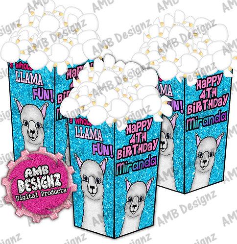 Llama Popcorn Box Favor - Llama Party Supplies