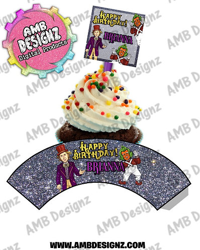 Wonka Personalized Cupcake Topper and Cupcake wrapper set