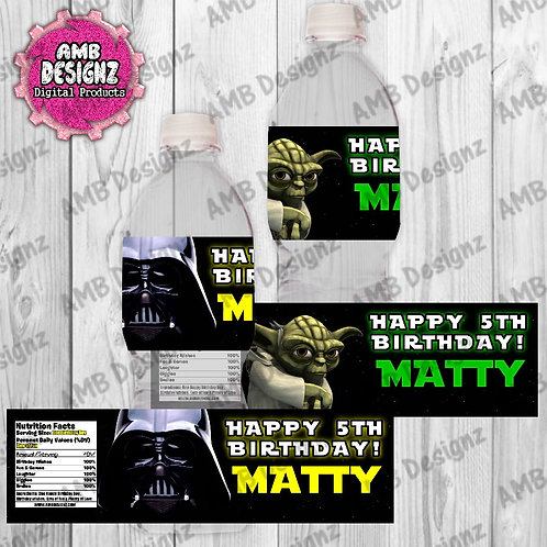Star Wars Water Bottle Wrapper - Star Wars Party Supplies