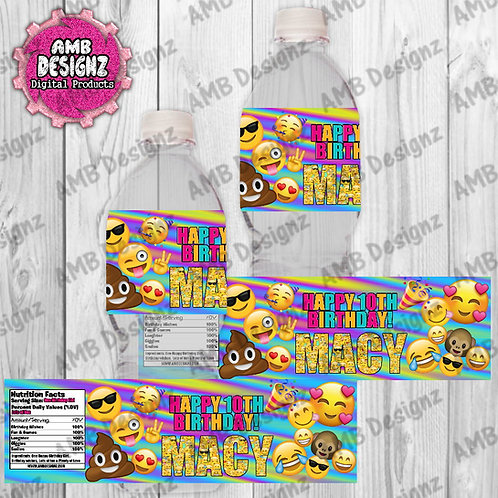 Emoji Water Bottle Wrapper - Emoji Party Supplies