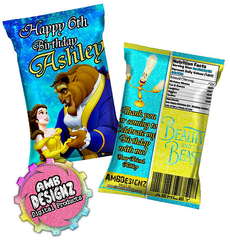 Beauty & the Beast Chip Bag Favor Party Supplies
