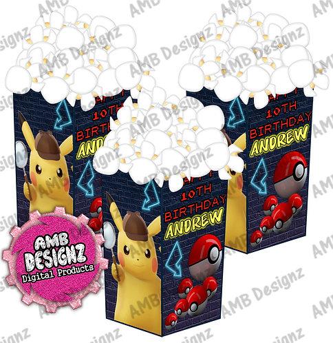 Pikachu Detective Popcorn Boxes - Pikachu Detective Party Supplies