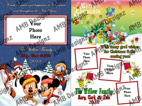 Mickey Mouse Christmas Printable Custom Photo Christmas Card