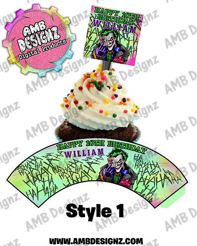 Joker Cupcake topper and wrapper, Joker Party Supplies