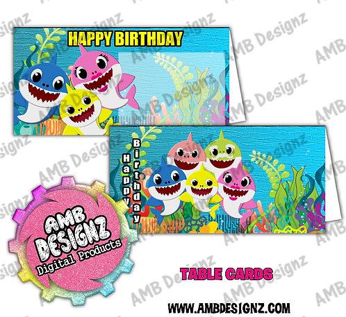 Baby Shark Table Card Set - Baby Shark Party Supplies