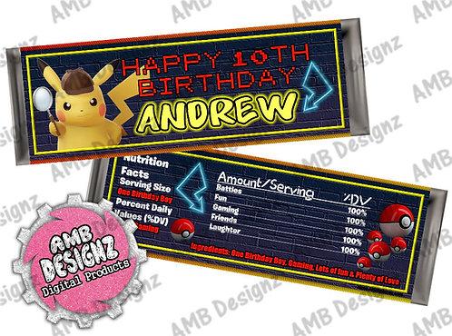 Pikachu Pokemon Candy Bar Wrapper - Pikachu Detective Party Supplies