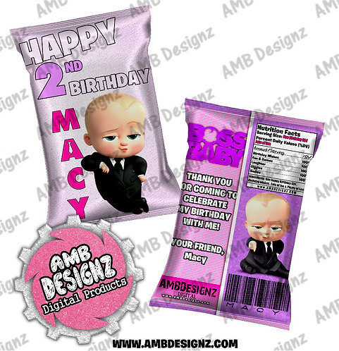 Boss Baby Chip bag Favor - Boss Baby Party Supplies