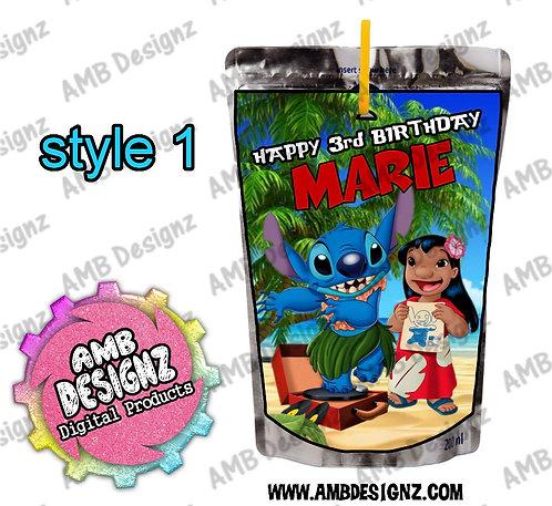 Lilo and Stitch Capri-Sun Pouch Label - Lilo and Stitch Party Supplies
