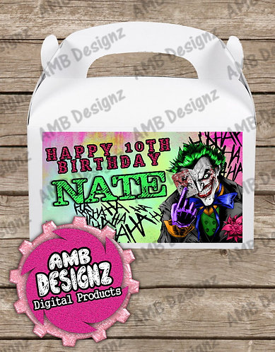 Joker Gable Box/Treat Box Label Supplies - Joker Party Supplies