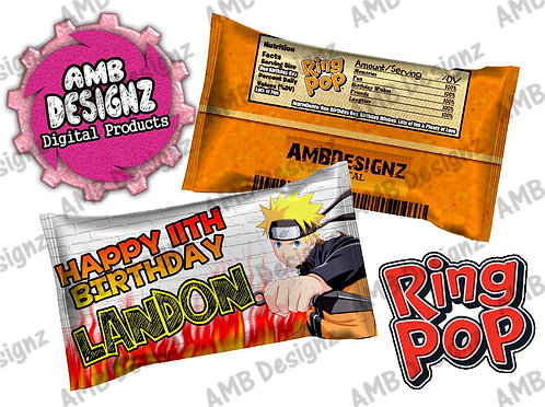 Naruto Ring Pop Label Party Supplies
