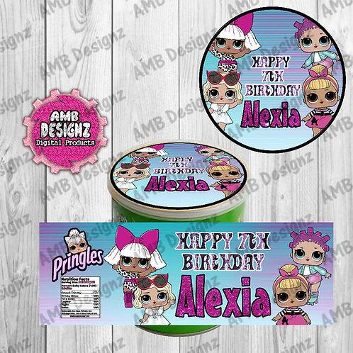LOL Surprise Pringles Can Labels - LOL Surprise Party Supplies