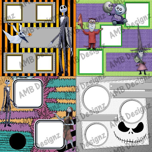 The Nightmare Before Christmas Digital Scrapbooking Premade Album/Pages Set 2
