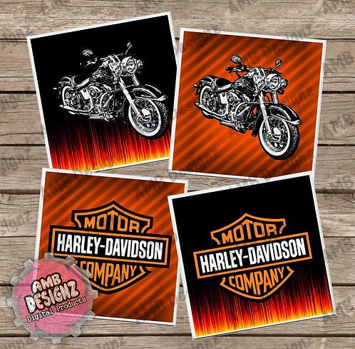 Harley Davidson Themed Tile Coaster Set