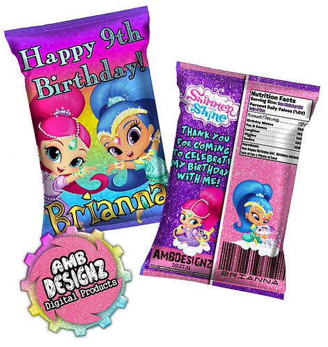 Shimmer and Shine Chip bag Party Favor