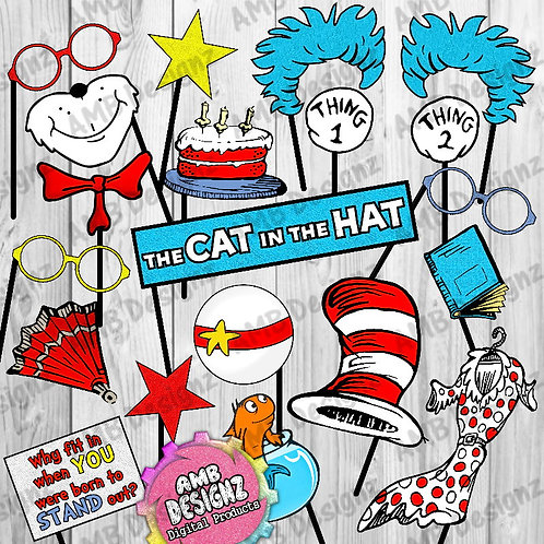 Dr. Seuss Cat in the hat Photo Booth Props Party Decorations Party Supplies