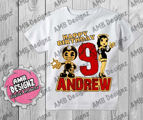 Bendy and the ink machine T-Shirt Birthday Image - Bendy Party Supplies