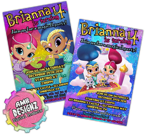 Shimmer and Shine Invitation Party Supplies