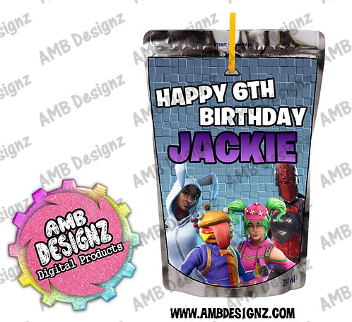 Fortnite Juice Pouch Label - Fortnite Party Supplies