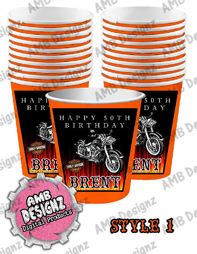 Harley Davidson Party Cups - Harley Davidson Party Supplies