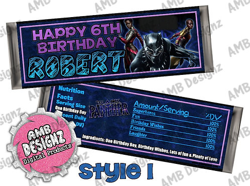 Black Panther Candy Bar Wrapper, Black Panther Party Supplies
