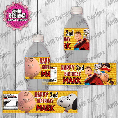 Peanuts Charlie Brown Snoopy Water Bottle Wrap - Peanuts Party Supplies