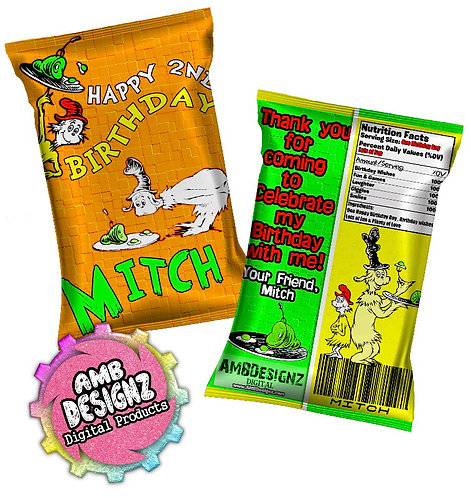 Dr. Seuss Green Eggs and Ham Chip Bag Party Favor Party Supplies
