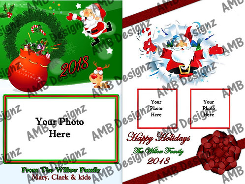 Santa Claus Printable Custom Photo Christmas Card