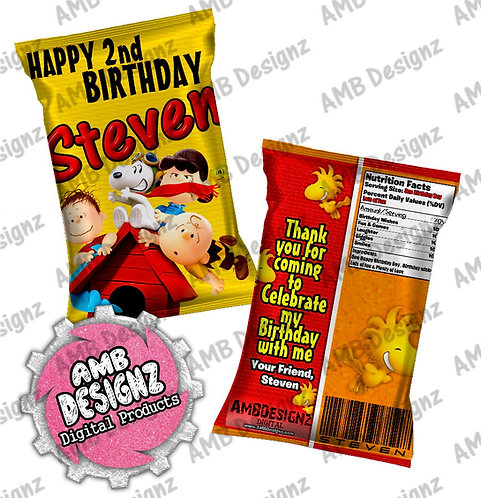Peanuts Charlie Brown Snoopy Chip Bag Party Favor Party Supplies