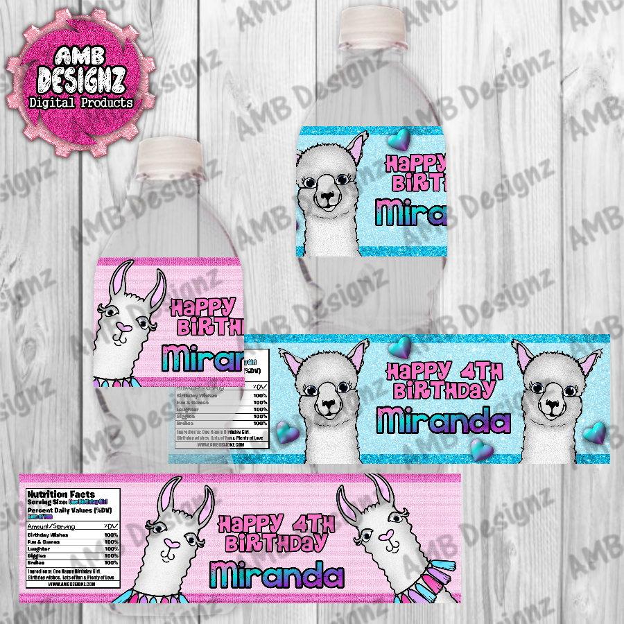 Llama Water Bottle Wrap - Llama Party Supplies