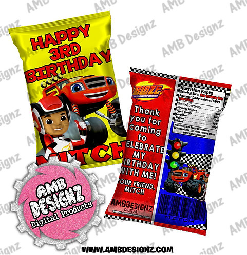 Blaze and the monster machines Chip Bag Favor - Blaze Party Supplies