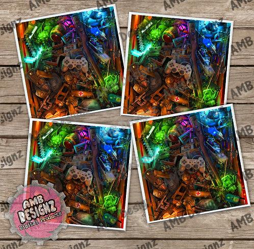 Gamer Themed Tile Coaster Set
