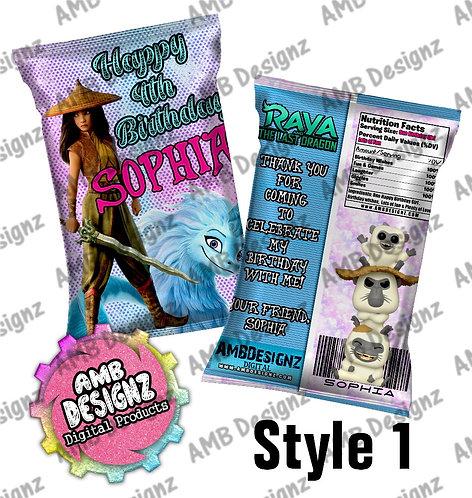 Raya & the lost Dragon Chip Bag Favor - Raya & the lost Dragon Party Supplies