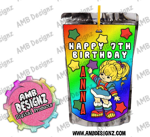 Rainbow Brite Juice Pouch Label - Rainbow Brite Party Supplies