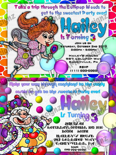 Candyland Custom Digital Invitation