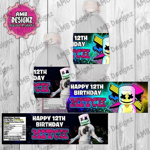 DJ Marshmello Water Bottle Wrapper - DJ Marshmello Party Supplies