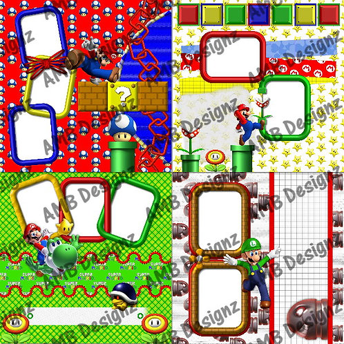 Super Mario and Friends Digital Scrapbooking Premade Album/Pages