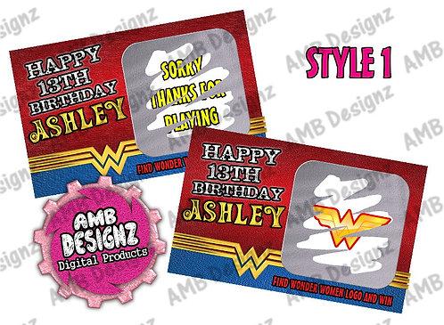 Wonder Women Scratch Off Ticket Favor - Wonder Women Party Supplies