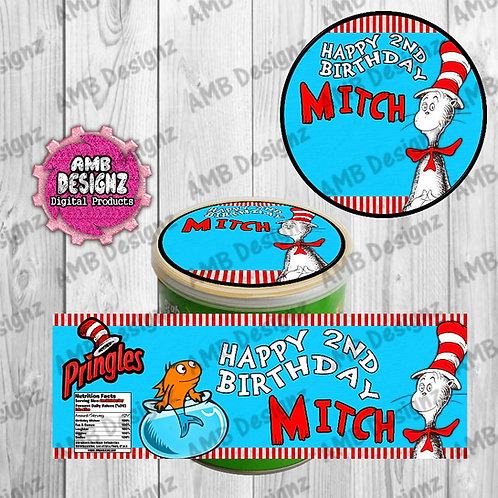 Cat in the Hat Pringles Can Labels - Dr. Seuss Party Supplies