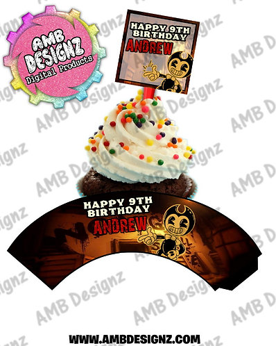 Bendy and the ink Machine Cupcake Topper and Cupcake wrapper set