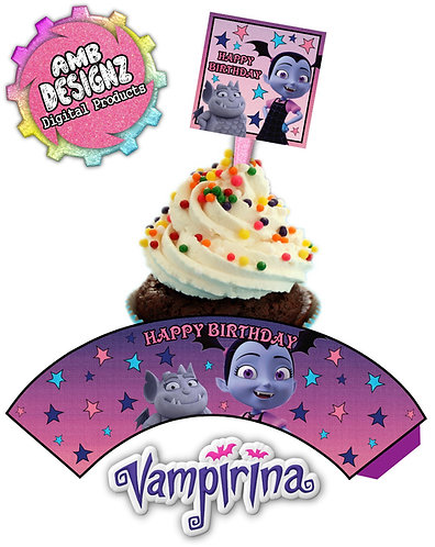 Vampirina Cupcake Topper and Cupcake Wrap