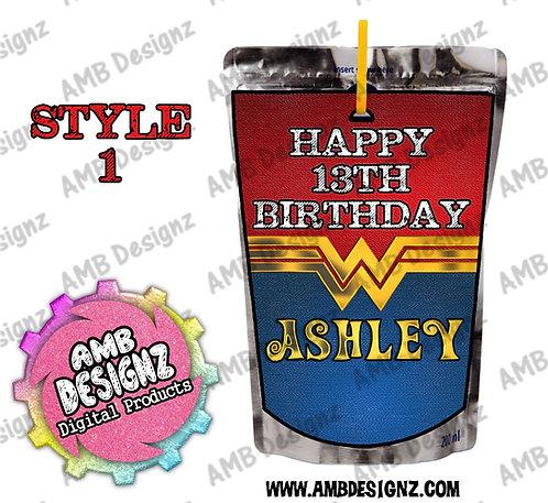 Wonder Women Capri-Sun Pouch Label - Wonder Women Party Supplies